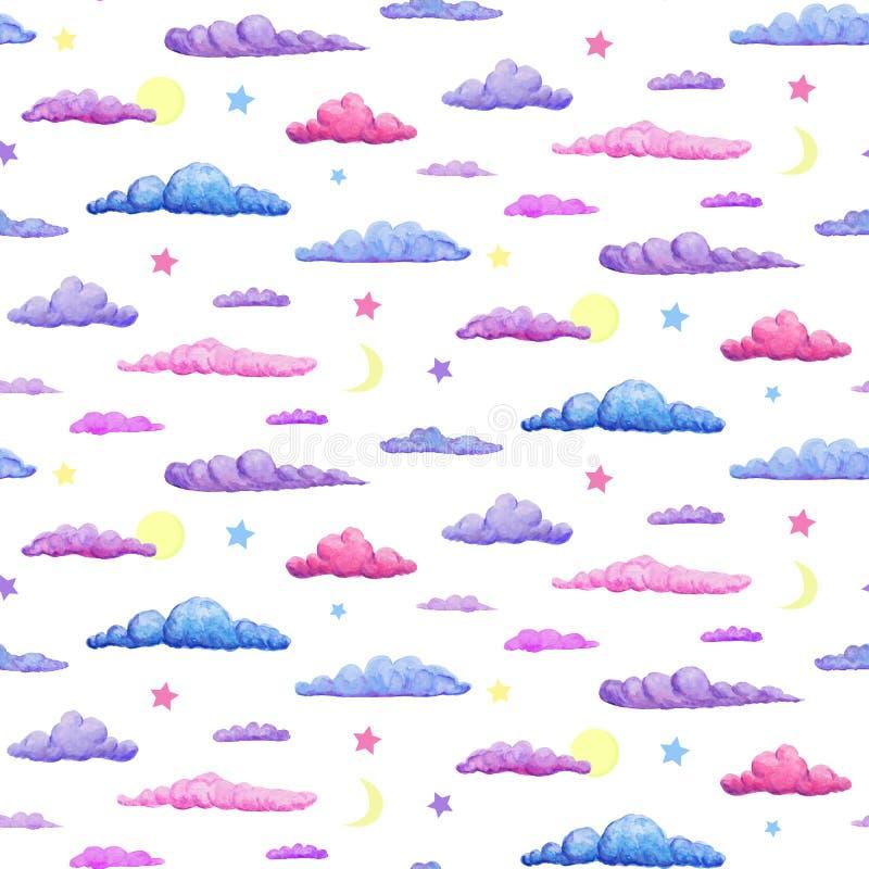 柔和的紫色桃红色和蓝色云彩的水彩无缝的样式 与新月形的星和满月的淡色云彩在白色 向量例证
