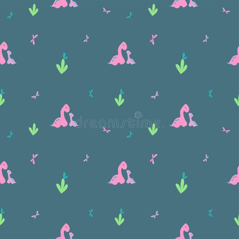 柔和的迪诺样式 桃红色大,紫色小的恐龙和蝴蝶 纺织品的印刷品瓦片,衣物 背景博克 向量例证