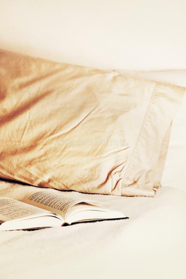 柔滑书开放的枕头 库存图片