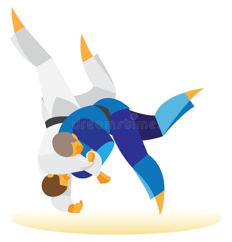柔道比赛 摔跤手做投掷 皇族释放例证