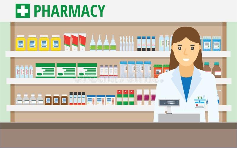 柜台的妇女药剂师在药房 库存例证