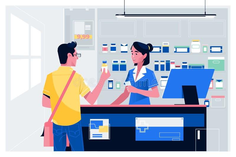 柜台的药剂师在药房 人买药物在药房 医疗保健医疗背景 ?? ?? 向量例证