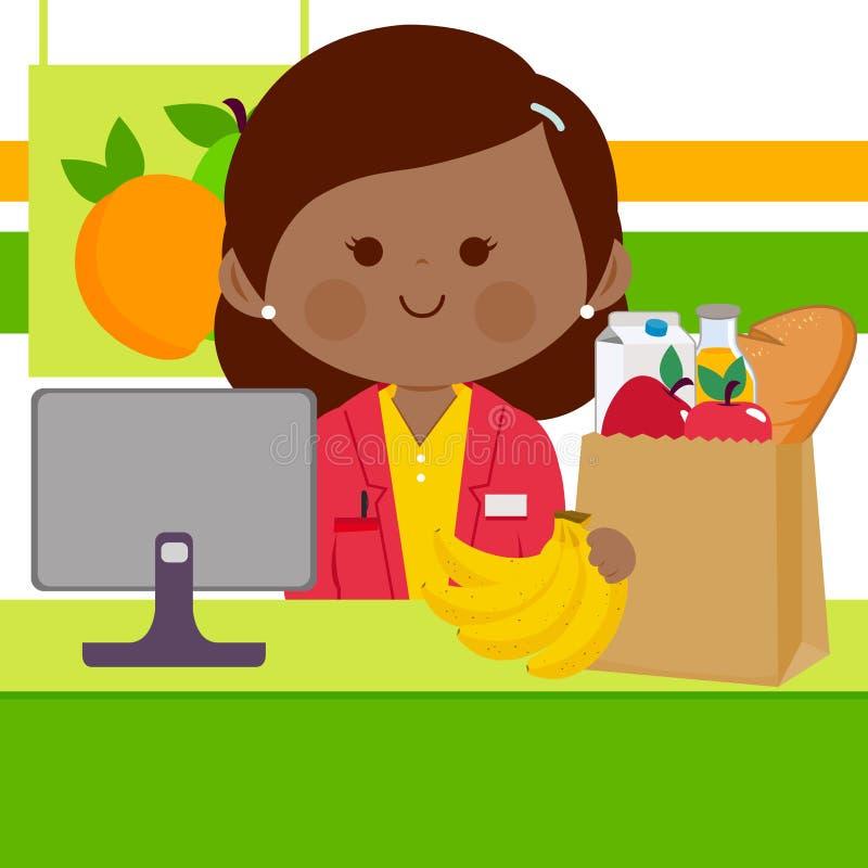 柜台的超级市场雇员在填装购物袋的计算机前面用杂货 向量例证