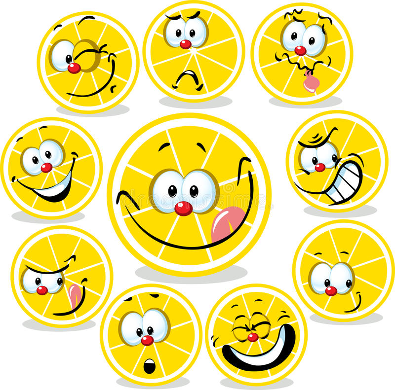 柠檬与滑稽的面孔的象动画片 皇族释放例证