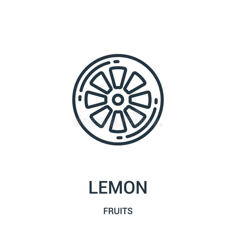 柠檬从果子汇集的象传染媒介 稀薄的线柠檬概述象传染媒介例证 线性标志为在网的使用和 皇族释放例证