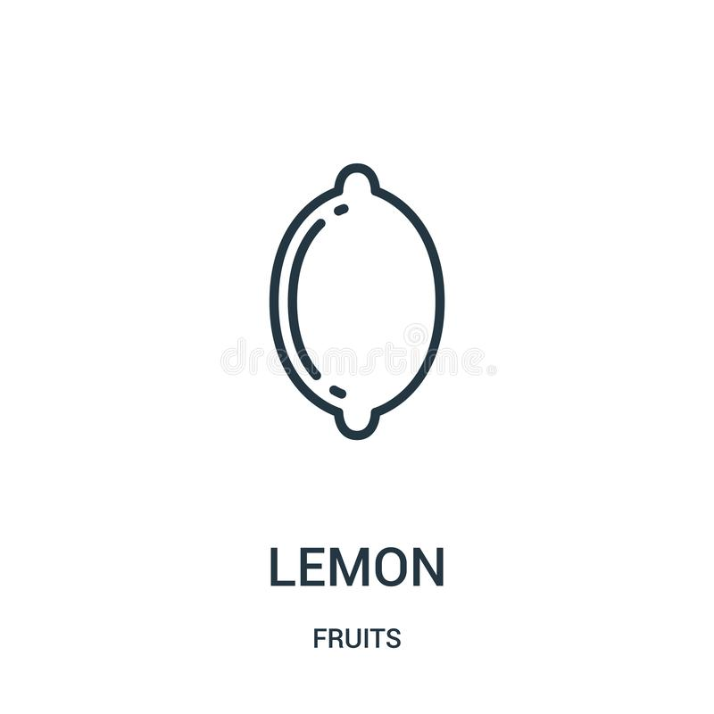 柠檬从果子汇集的象传染媒介 稀薄的线柠檬概述象传染媒介例证 线性标志为在网的使用和 库存例证