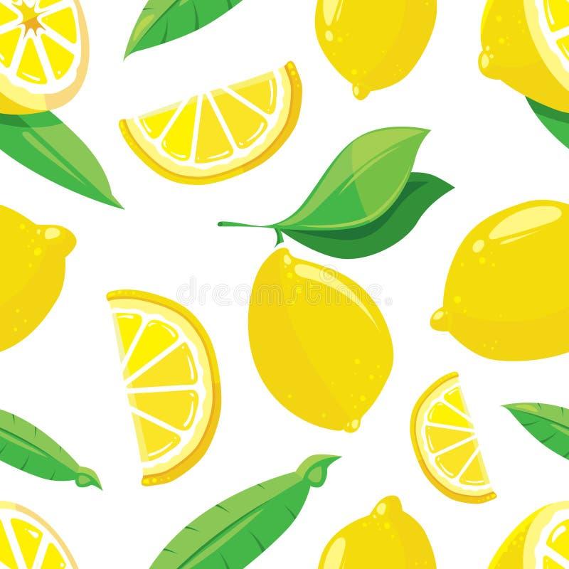 柠檬切传染媒介柑橘无缝的样式 皇族释放例证