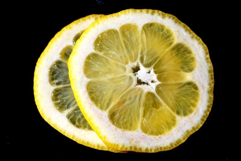 柠檬切片宏指令 免版税库存图片