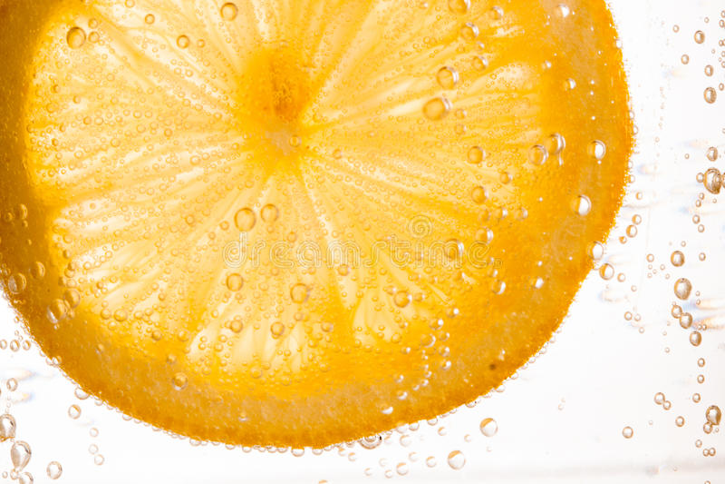 柠檬切片特写镜头 免版税库存图片
