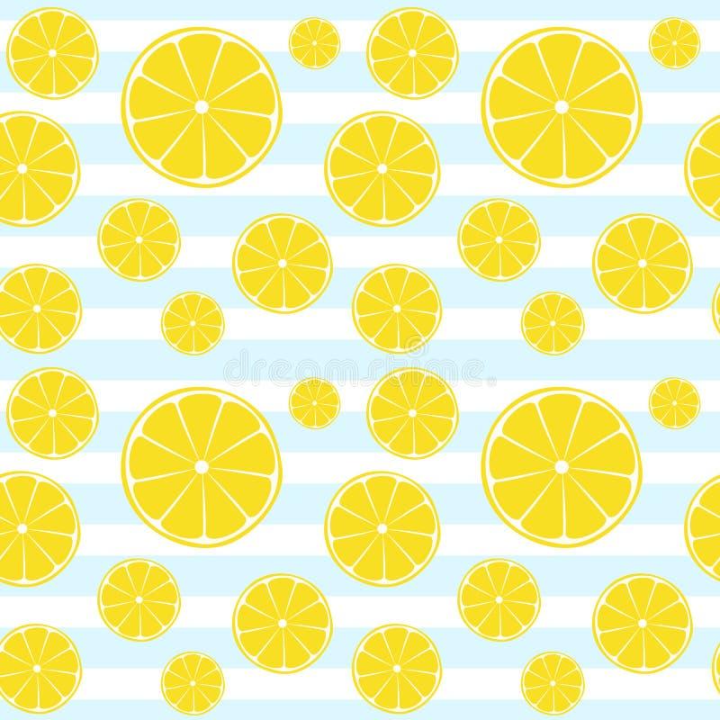 柠檬切片蓝色白色镶边无缝的样式 皇族释放例证
