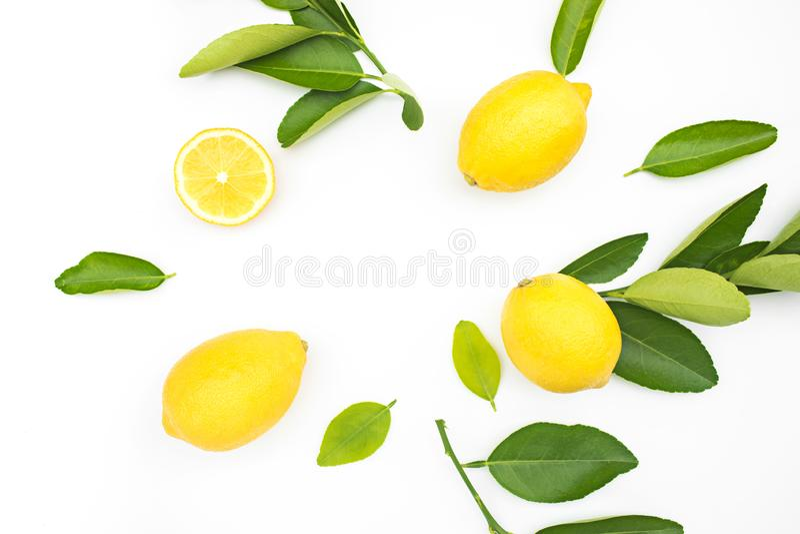 柠檬和叶子顶视图在白色背景 概念 免版税库存图片