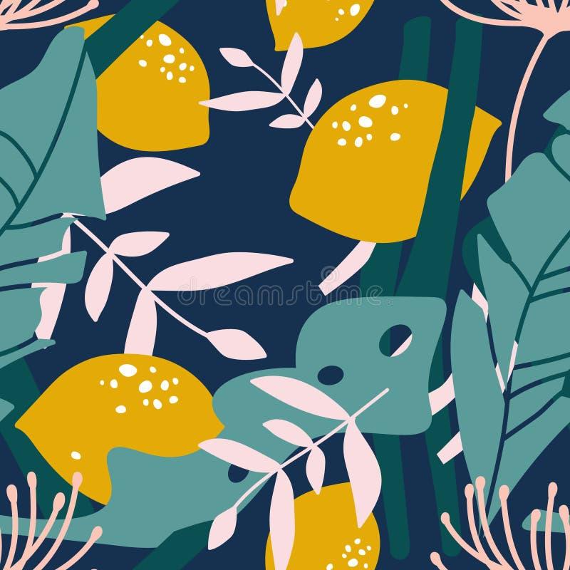 柠檬和叶子,五颜六色的无缝的样式 向量例证