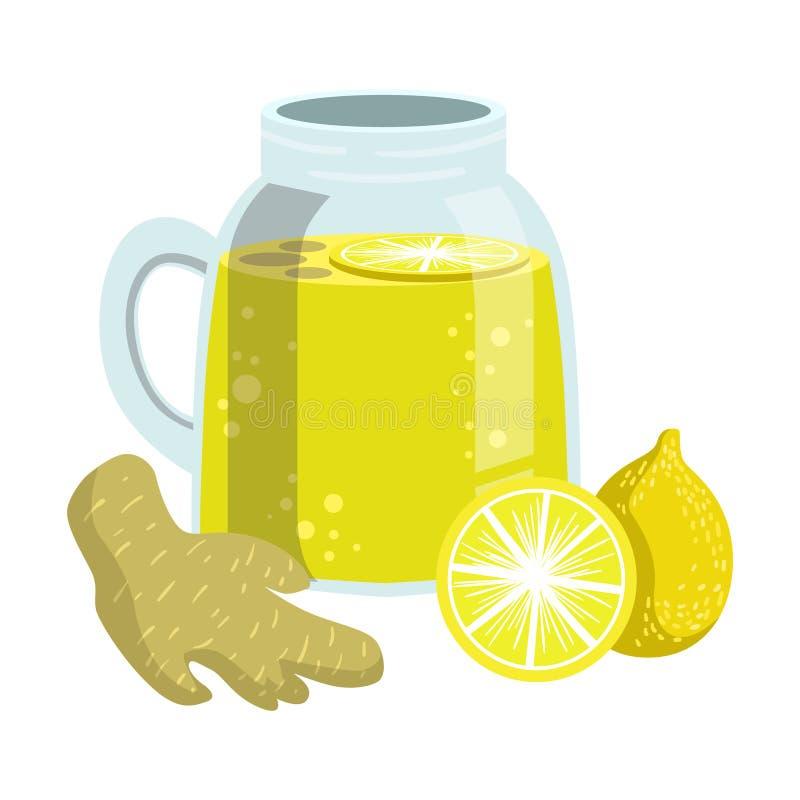 柠檬和姜圆滑的人、非酒精新鲜的鸡尾酒在玻璃和成份它的传染媒介例证 库存例证