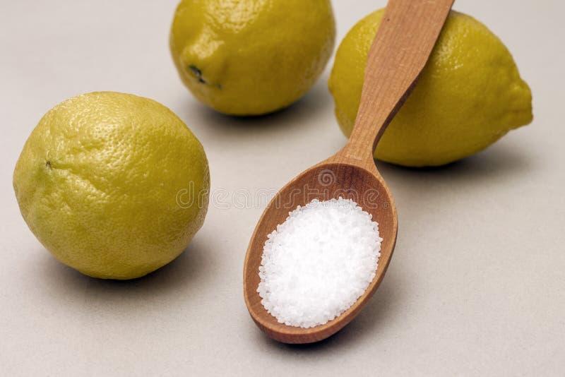 柠檬和柠檬酸在木匙子 免版税库存照片