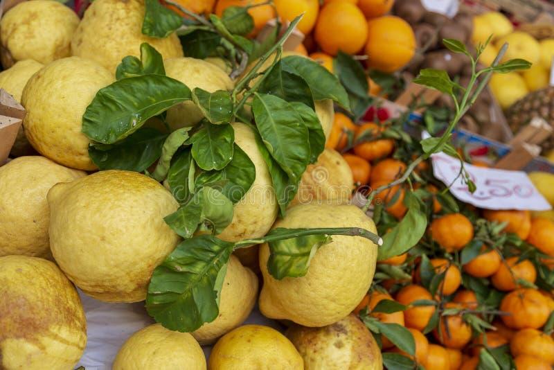 柠檬和桔子在索伦托市场上 免版税库存照片