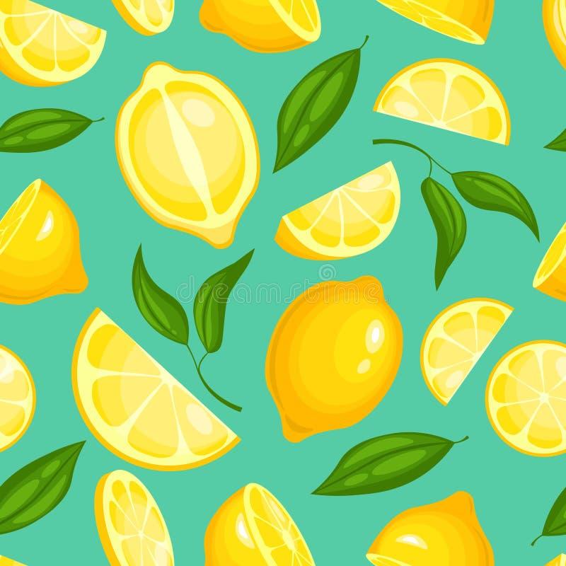 柠檬样式 与叶子例证或墙纸传染媒介无缝的背景的柠檬水异乎寻常的黄色水多的果子 库存例证