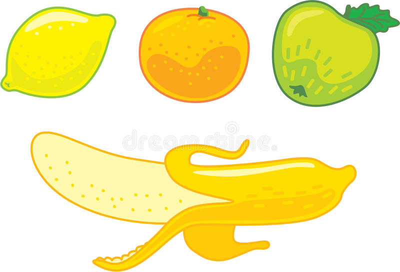 柠檬橙色苹果计算机香蕉 免版税库存图片