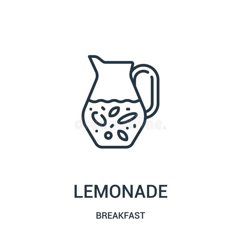 柠檬水从早餐汇集的象传染媒介 稀薄的线柠檬水概述象传染媒介例证 r 皇族释放例证