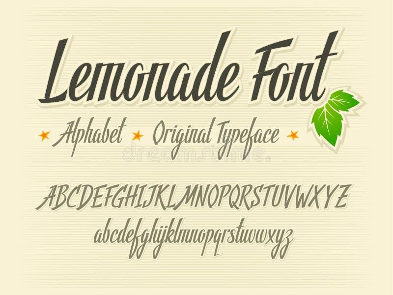 柠檬水字体手写的在上写字的传染媒介aphabet 向量例证