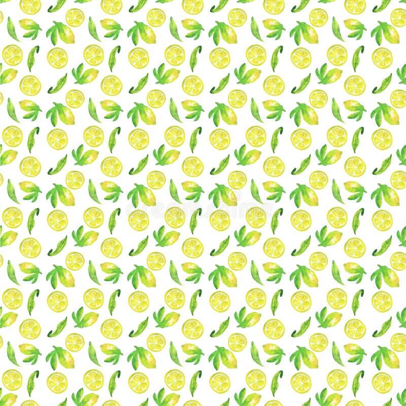 柠檬生气勃勃无缝的样式,水彩例证 向量例证