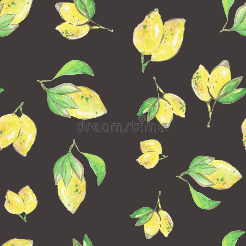 柠檬生气勃勃无缝的样式,水彩例证 库存例证