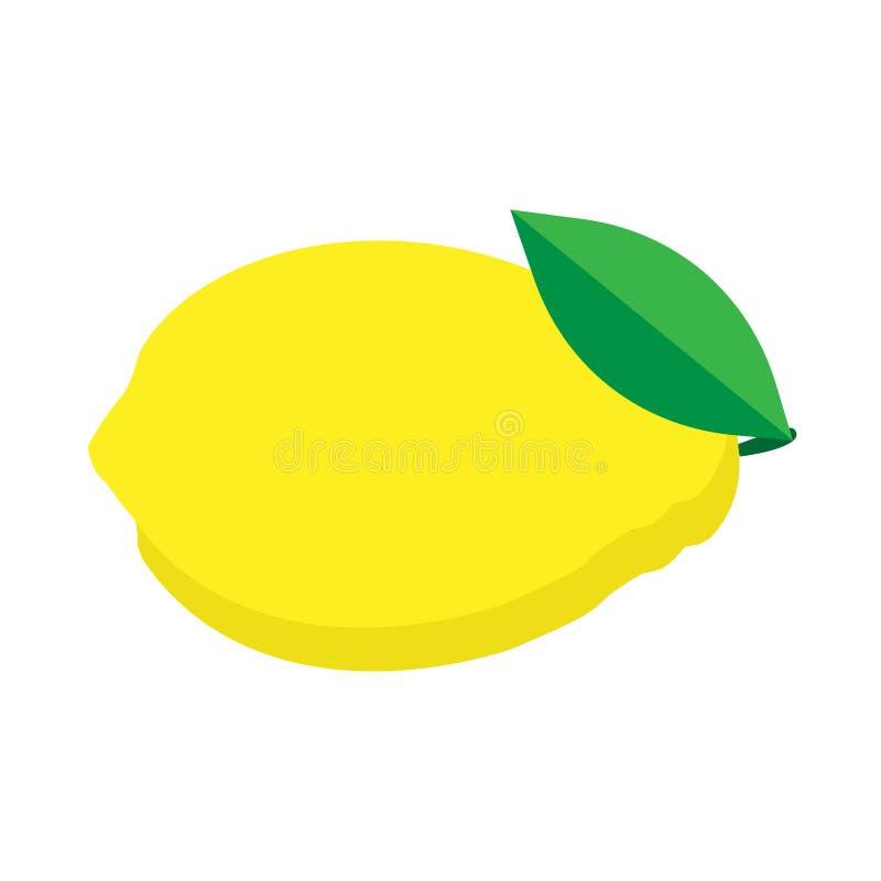 柠檬自然黄色成熟果子传染媒介平的象 酸柑橘成份食物隔绝了白色 向量例证