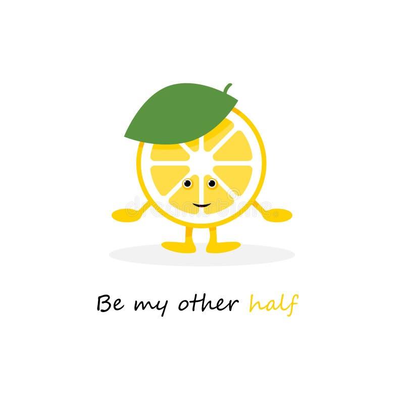 柠檬逗人喜爱的微笑字符 动画片黄色果子卡片 r 皇族释放例证