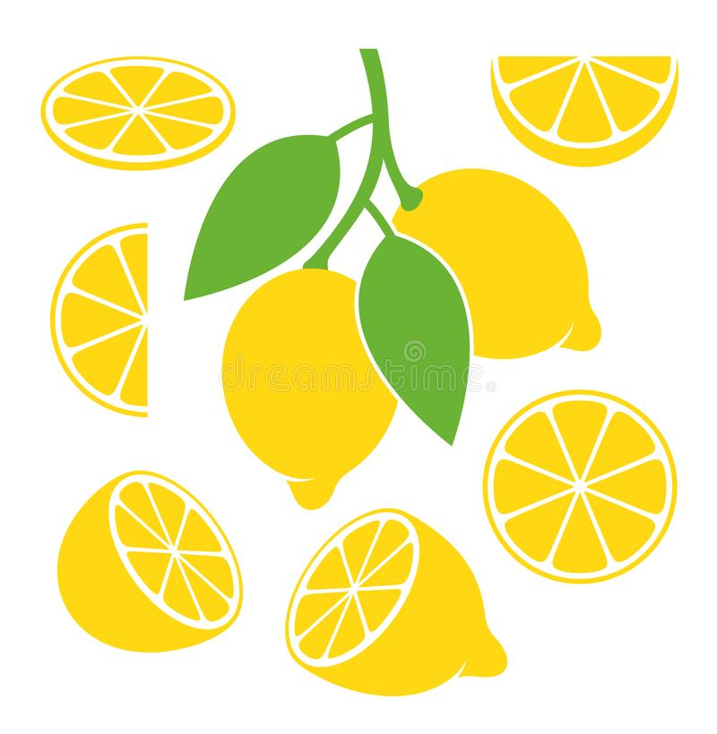 柠檬集合 在白色背景的被隔绝的柠檬 皇族释放例证