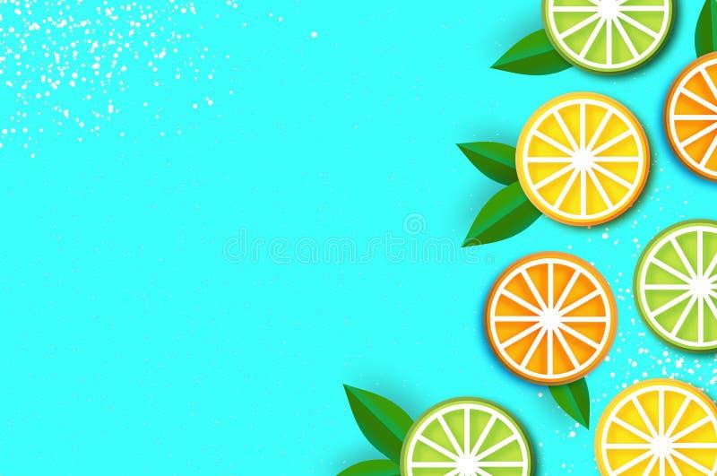 柠檬,石灰,橙色在纸削减了样式 Origami水多的成熟切片 叶子 在蓝色的健康食物 夏令时 向量例证