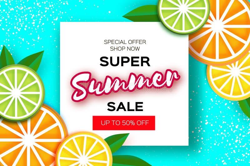 柠檬,石灰,橙色 在纸的柑橘超级夏天销售横幅削减了样式 Origami水多的成熟切片 叶子 健康的食物 向量例证