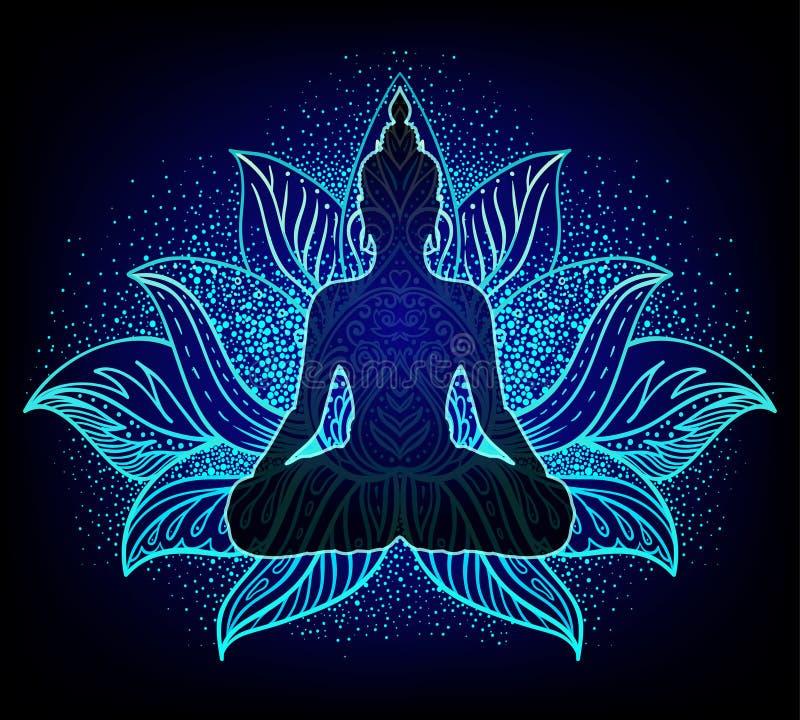 查克拉概念 内在爱、光和和平 菩萨剪影 向量例证