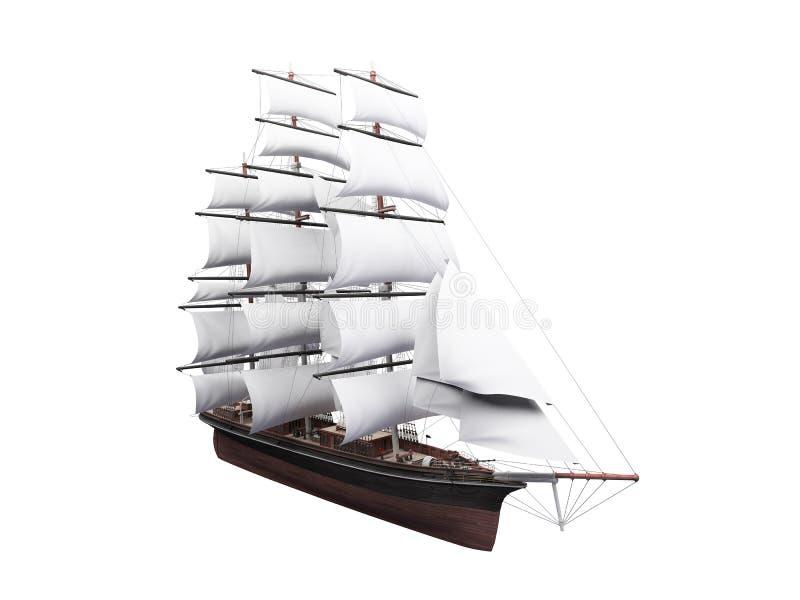 查出在帆船白色 向量例证
