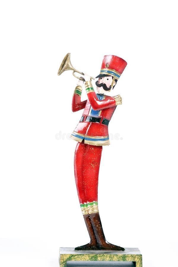 查出演奏战士玩具喇叭白色 免版税库存图片
