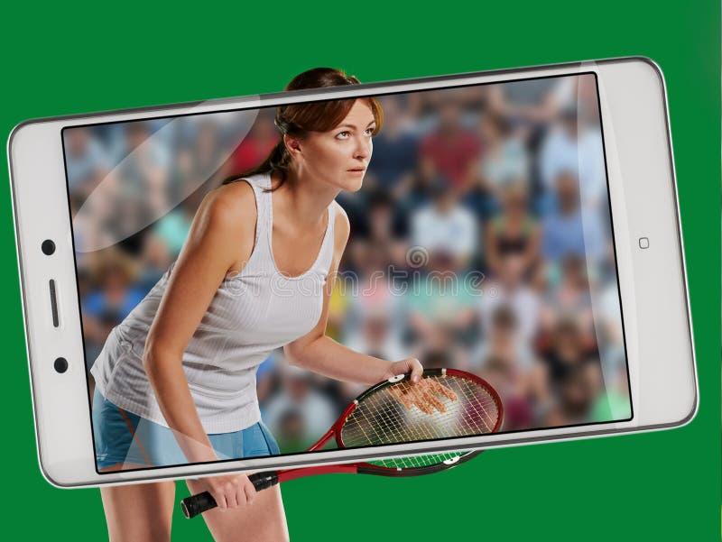 查出演奏网球白人妇女年轻人 库存图片