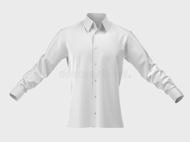 查出的人s衬衣丝绸白色 免版税库存照片