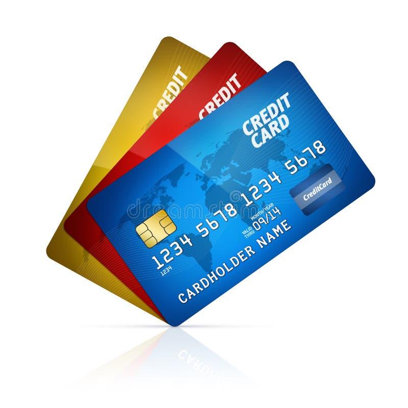 查出的信用卡收藏 向量例证
