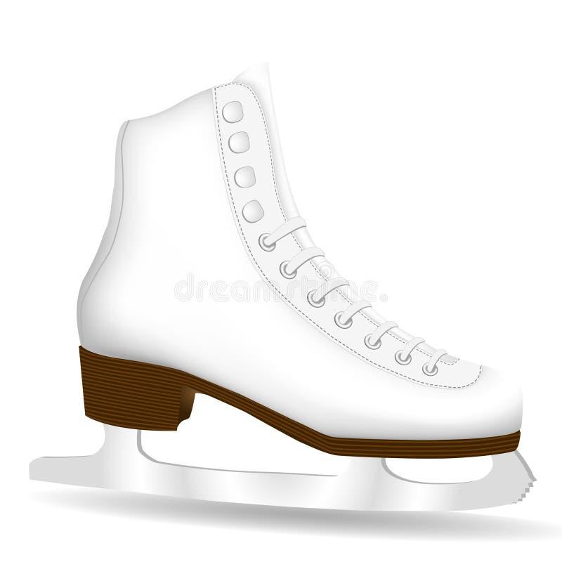 查出的冰鞋白色 库存例证