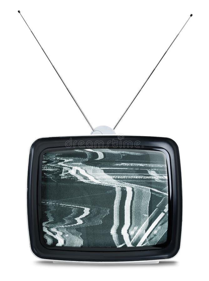 查出的减速火箭的电视白色 免版税库存照片