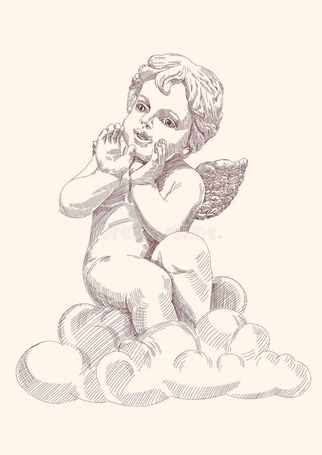 查出的天使丘比特 皇族释放例证