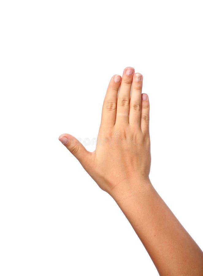 查出的女性手指五现有量 免版税库存照片