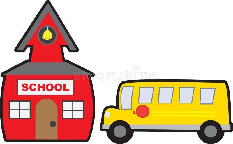 查出的学校和公共汽车 皇族释放例证