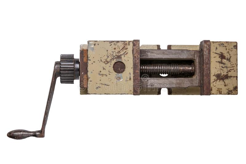 查出的工具 VISE 在大金属重的工业v的顶视图 库存图片