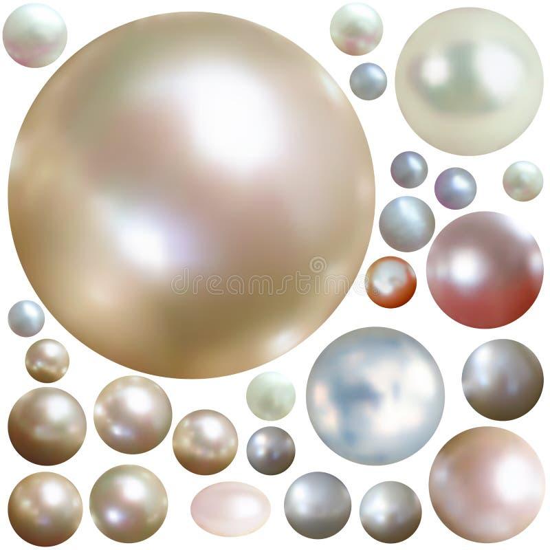 查出的收集颜色成珠状白色 库存例证
