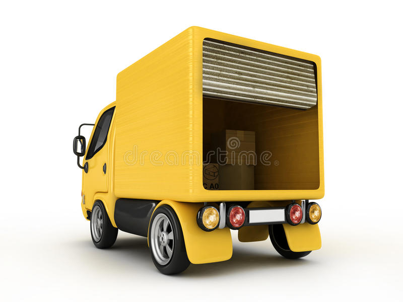查出的有篷货车黄色 皇族释放例证