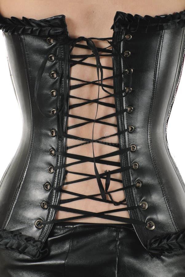 查出的束腰系带皮革 免版税库存照片
