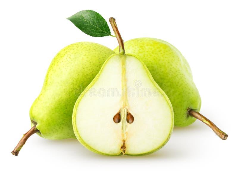查出的梨 在白色背景和切片隔绝的两个整个梨果子,与裁减路线 库存照片