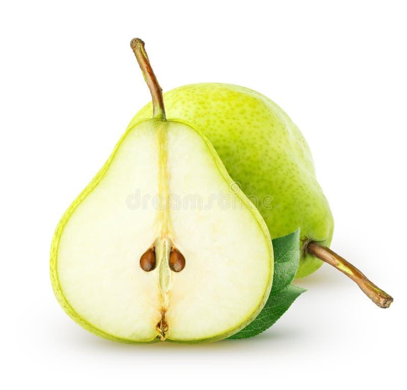 查出的梨 整个梨果子和切片与在白色背景隔绝的叶子,与裁减路线 库存照片