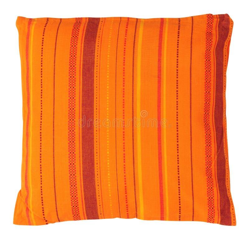 查出的橙色枕头 免版税库存照片