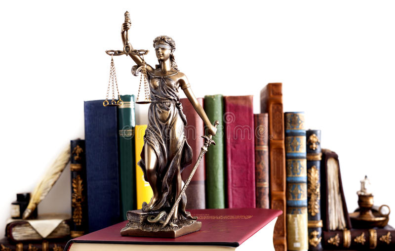 查出的正义剪影雕象白色 库存图片