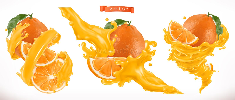 查出的汁液橙色白色 新鲜水果3d传染媒介象 向量例证